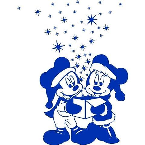 Weihnachtsdekoration, Größe 60 cm x 58 cm, mit 46-Sterne, 2 x 10 cm, 12 x 5 cm, 32 x 2,5 cm, Farbe: azur Micky Maus und Minnie Maus, in Geschenkschachtel, Kinderzimmer, Vinyl, Fenster und Auto-Aufkleber, Wand Windows-Art ThatVinylPlace Wandtattoo,