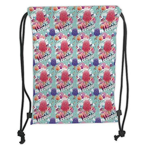 string Backpacks Bags,Ice Cream Decor,Modern I Love Ice Cream Quote Dream Land for Girls Boys Graphic Decorative,Pink Seafoam Purple Soft Satin,5 Liter Capacity,Adjustable Stri ()