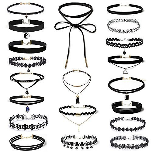 Elegant 20 St¨¹ck Choker Halsketten Set Velvet Halskette Tattoo Halsband Punk Gothic Halsband F¨¹r Frauen M?dchen-Schwarz