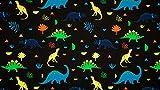 Qualitativ hochwertiger Jersey Stoff mit Neon Dinos auf