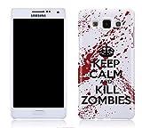 Cell Shell ® Samsung Galaxy A3 Case / Cover / Custodia / Skin Rigida in Plastica / Snap On - Disegno Bianco e Rosso Keep Calm and Kill Zombies