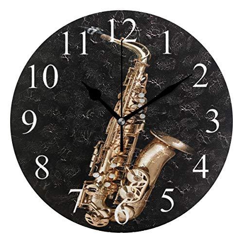 AMONKA runde Wanduhr mit goldenem Saxophon, geräuschlos, Acryl-Uhren für Wohnzimmer, Schlafzimmer, Küche, Schule, Büro
