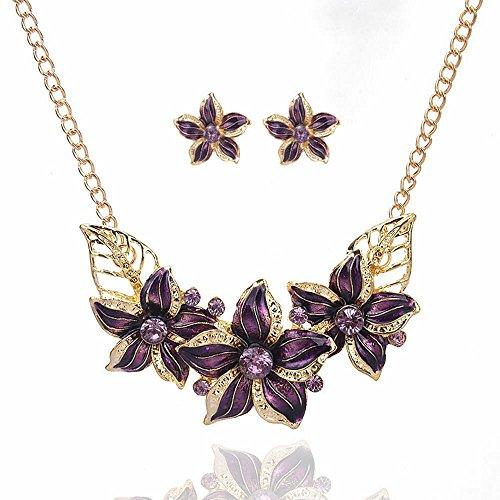 QIYUEQI Ms Halskette Blume Halskette Set mit Bohrer Collarbone Kette Mode Schmuck Geschenk