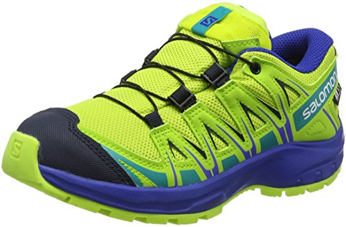 Salomon Kinder XA Pro 3D CSWP J, Trailrunning-Schuhe, Wasserdicht, grün (acid lime / surf the web / tropical green), Größe 32