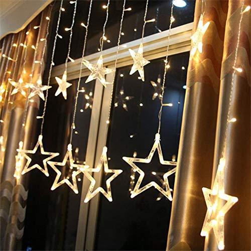LED Lichtervorhang, 12 Sterne Lichterkette 138er LEDs Lichterkette Weihnachtsbeleuchtung Innen Fenster Für Weihnachten Party Hochzeit Sternschnurlicht