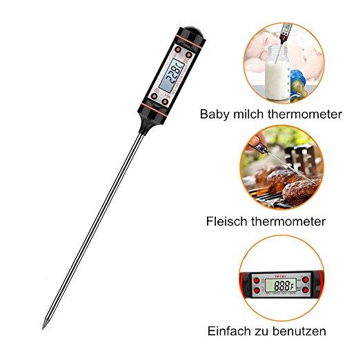 Küchenthermometer Haushaltsthermometer Einstichthermometer Kochthermometer, Well Buy Digital Thermometer mit LCD Bildschirm Korrosionsschutz für Braten, Kochen, Grillen/BBQ, Backen, Baby-Ernährung.