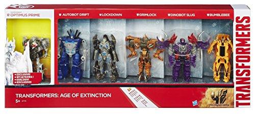 Transformers 4 Age of Extinction - Exclusives Action Figure 6-Pack Optimus, Drift, Lockdown, Grimlock, Slug & Bumblebee... (4 Grimlock Transformers)