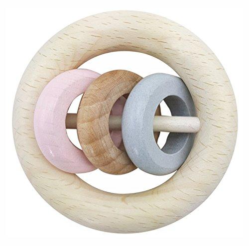 Hess 11115 - Holzspielzeug, Rundrassel mit 3 Ringen aus Holz, nature rosa Preisvergleich