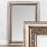 LEBENSwohnART Wandspiegel ARGENTO barock 70x50cm Spiegel Silber-Antik Holzrahmen und Facette