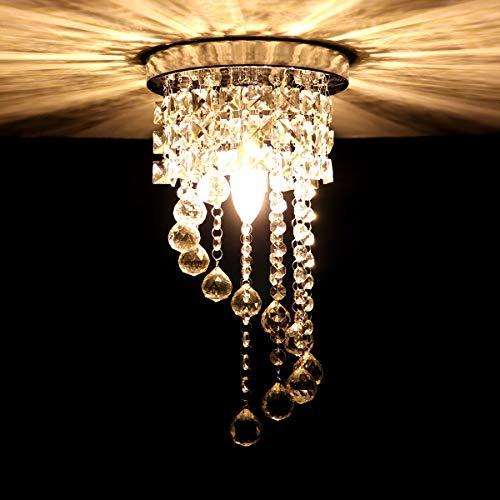 Hawee moderno lampadario di cristallo plafoniera luce soffitto lampada da soffitto cristallo k9 cromo acciaio inox per camera da letto, sala, soggiorno, corridoio(altezza 37cm, diametro 20cm)