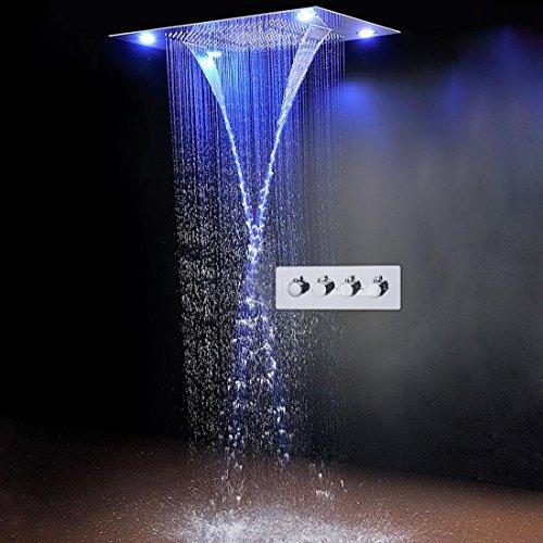 """hm Klassisches Design 31"""" 600x800mm große Regendusche Set Wasserfall LED versenkte Deckenhalterung 4 Funktion Duschkopf, Fernbedienung"""