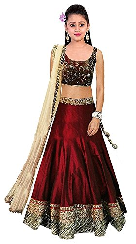 Fashion Vogue Girls Kids Maroon Banglory Silk Semi-Stitched Lehengha Choli Dress Material Salwar Suit(Free Size 7 Year To 12 Year)