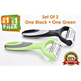 Bagonia® Set Of 2 Pis, 3-in-1 Rotational Vegetable Peeler, Julienne Slicer And Shredder | Ergonomic Handle | 3 Sharp Food Grade 420 Stainless Steel Blades | Perfect For Peeling And Julienning Potato, Carrot, Cucumber, Apple, Tomato (One Black + One Gr