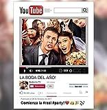 Marco Photocall Personalizado YouTube. Cartón de 4mm. (70x100/90x120cm)