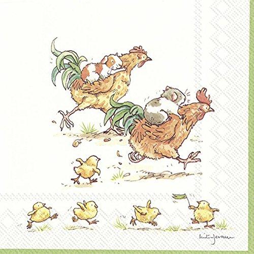 Run Rooster Run weiß Ostern Guinea Pig und Huhn Ihr Papier Lunch Servietten 20Stück 3-lagig 33cm quadratisch (Roosters Küche)