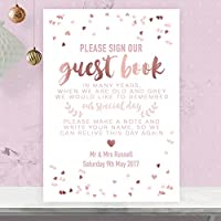 Personalised Wedding Table Sign For a Guest Book In Rose Gold Effect and Blush Pink (RGP14)