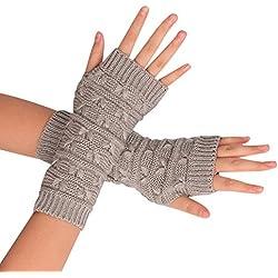 Ularma Brazo suave invierno guantes sin dedos guantes de punto unisex (Talla única, gris)