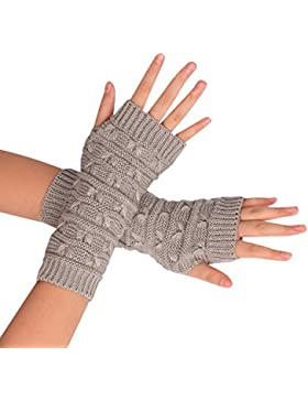 Ularma Brazo suave invierno guantes sin dedos guantes de punto unisex