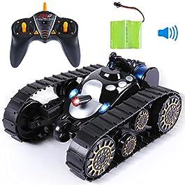 SGILE 4WD Auto Telecomandata(Batterie Aggiuntive), 1:28 360° Doppiafaccia Rotazione Acrobatica RC Stunt Car, 2.4GHZ 15KM/H Alta velocità Macchina Telecomandata con Luci per Bambini