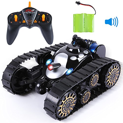 SGILE Remote Control Tanks Car - 360� Flip Stunt RC Tank with LED Lights and Music, Gift for Kids Boys Children