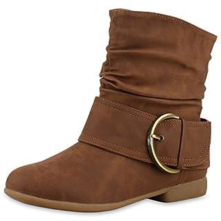 Damen Schuhe Schlupfstiefel Schnallen Stiefeletten Leder-Optik Hellbraun Schnallen 38