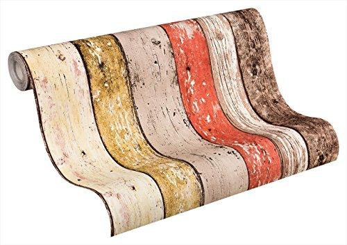 Vliestapete New England 2 Tapete in Holz Optik fotorealistische Holztapete maritime Optik 10,05 m x 0,53 m beige braun rot Made in Germany 895127 8951-27