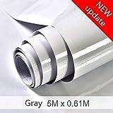 HDM 5M * 61CM épaisse PVC adhésif film, gris avec des particules de paillettes