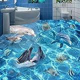 Mbwlkj Fototapete 3D Unterwasserwelt Dolphins Bodenfliesen Wandbilder Badezimmer Wohnzimmer Pvc Rutschfeste Boden Aufkleber-150cmx100cm