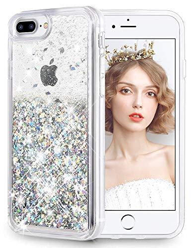 Wlooo cover iphone 8 plus, glitter liquido silicone luxury bling cover protettivo morbido tpu bumper brillantini trasparente custodia quicksand case per iphone 6 plus/6s plus/7 plus/8 plus (argento)