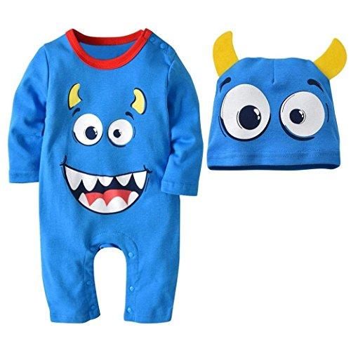 (XXYsm 2 STÜCKE Halloween Outfit Baby Jungen Mädchen Langarm Cartoon Print Strampler + Hut Set(Hellblau,18-24 Monate))