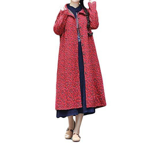 Günstige Creed Assassin's 4 Kostüm - WRWYOSF Damen Mantel Winter Jacke Outwear Ethnische Stil Baumwolle Leinen Große Lose Retro-Kapuzenjacke