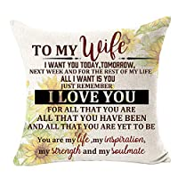 "to My Wife You are My Life My Soulmate Remember I Love You Sunflower Best Gift for Wife Cotton Linen Square Throw Pillow Case Decorative Cushion Cover Pillowcase for Bed Coach Sofa 18""x 18"""