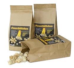 RF-Waren Kaminanzünder, Feueranzünder, Feuerbällchen (Anzünder ökologisch, aus Naturprodukten - Wachs, Naturholz; Nässe unempfindlich; Brenndauer ca. 10 min)