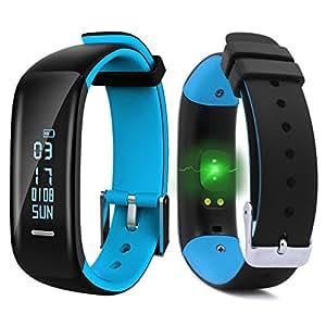"""ROGUCI 0.86 """"OLED Fitness Armband Tracker Uhr Handgelenk,Smartband mit Puls-und Blutdruck Monitor Armbanduhr,Anruf / SMS Benachrichtigung Smartwatch Bänder mit Handy von Schlafüberwachung und Kalorienverbrauch,Android 4.3,IOS 8.0 oder höher"""