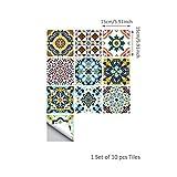 Mignon84Cook 10pcs Fliesen Aufkleber 7,87 x 7,87 in Küche Backsplash Badezimmer Vinyl wasserdicht Peel und Stick Marokko Talavera