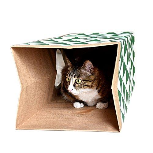 Katzentunnel,MAMACHU Kraftpapier Katzenspielzeug Schlauch Klappbar SpieltunnelCatnip Pet Toy Tube Faltbare Katze Spielzeug Tunnel mit gratis Katzenminze für Katzen,Welpen,Kitty,Kätzchen,Kaninchen