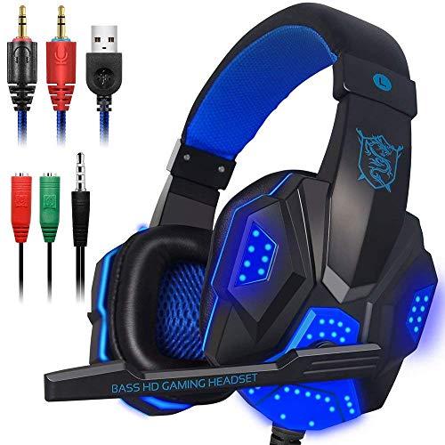 Gaming-Headset mit Mikrofon, LED-Licht für Laptop, Computer, Handy, PS4 usw, DLAND 3,5 mm verkabelte Geräuschisolierung - Lautstärkeregler