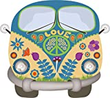 easydruck24de Hippie Sticker Flower-Power-Bus I kfz_269 I Peace and Love Bunt I für Notebook Laptop Kfz Wohnmobil I Wetterfest