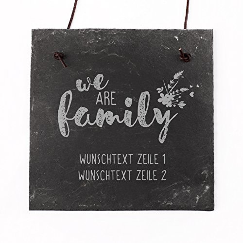 Cera & Toys® Schiefer Türschild - we Are Family - mit Gravur Ihres Wunschtextes in 2 Zeilen