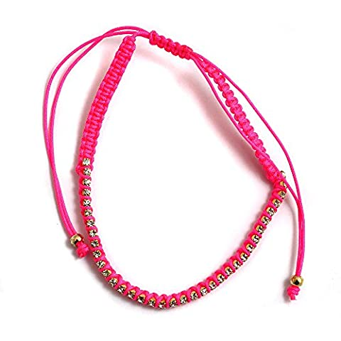 Hot Pink Cord and Captive Crystal Ladies Ankle Bracelet Anklet perfect for Beach Summer Festival Season