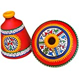 ExclusiveLane Terracotta Warli Handpainted Set Of 2 Pots In Red - Decorative Vase Gift Item Flower Pots Home Décor Showpieces