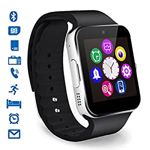 Smartwatch, CHEREEKI Bluetooth Smart Watch with Camera SIM/TF Card Slot Pedometer Touch Screen Bracelet Wrist Watch Phone Compatible with Android Smartphones