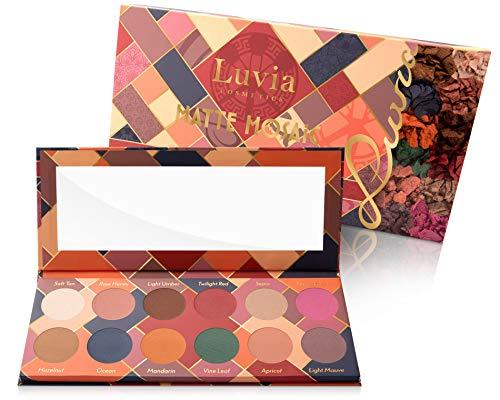 Luvia Lidschatten Palette Matt - Matte Mosaic Make-Up - Inkl. 12 einzigartigen matten Farben - Limitierte Geschenkbox - Vegane Lidschattenpalette Kosmetik