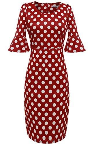 ANGVNS Polka Dots Kleid 50er Jahre Rockabilly Kleid Vintage Festliche Kleider Businesskleid Knielang