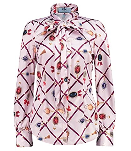 Women's Pink & Purple Jemina Jewels Print Fitted Satin Blouse - Elegant Pussy Bow Long Sleeve Shirt for