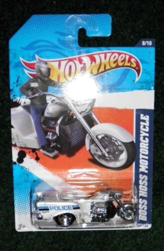 2011 HOT WHEELS HW MAIN STREET '11 168/244 WHITE LONGMONT POLICE BOSS HOSS MOTORCYCLE 8/10 by Hot Wheels