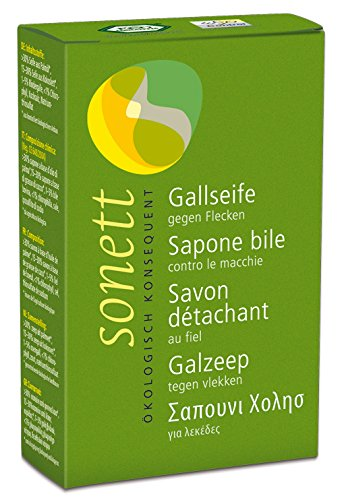 Sonett Gallseife (Stück) zur vielseitigen Fleckentfernung, 100% biologisch abbaubar, 100 g Stück