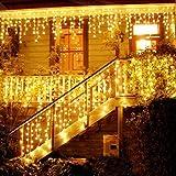 300 LEDs Licht Vorhang GreenClick LED Lichterkette Leuchtvorhang Warmweiß 8 Modi mit Adapter/Stromstecker Stimmbeleuchtung Wasserdichte Innen/Außen Deko für Schlafzimmer Weihnachten Party Balkon