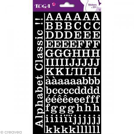 Unbekannt Toga Sticker Alphabet, Papier, weiß, 15x 29,5x 0,2cm (Scrapbooking-aufkleber Buchstaben)