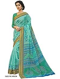 Vipul Sea Green Traditional Art Silk Festival Wear Saree